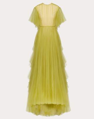 Valentino Tulle Evening Dress With Poetry Detailing Women Yellow 100% Poliammide 46