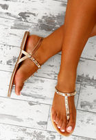 Pink Boutique Instant Icon Rose Gold Studded Flat Sandals