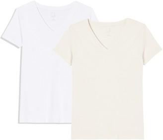 Meraki Amazon Brand Women's Solid V-Neck T-Shirt Pack of 2