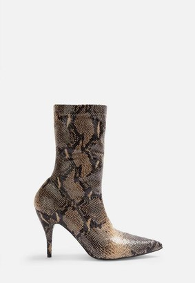 Missguided Nude Faux Leather Snake Print Mid Heel Boots