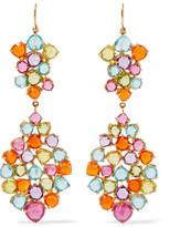 Marie Helene De Taillac Marie-Hélène de Taillac - Heart Mosaic 22-karat Gold Multi-stone Earrings - one size