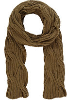 Barneys New York WOMEN'S CABLE-KNIT SCARF-DARK GREEN