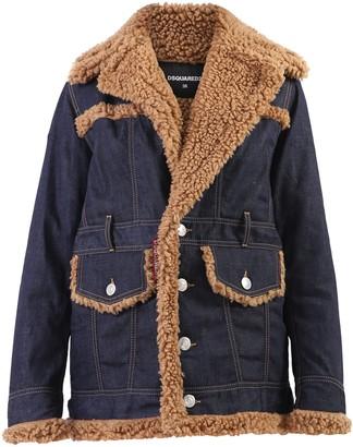 DSQUARED2 Shearling Detail Denim Jacket