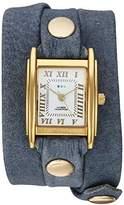 La Mer Women's Quartz Metal and Leather Casual Watch, Color:Blue (Model: LMSTW9012)