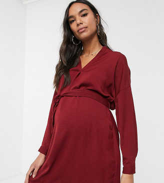New Look Maternity belted tunic in burgundy-Red
