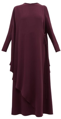 Valentino Cape-back Silk-crepe Dress - Womens - Purple