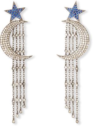 Siena Jewelry Sapphire Star & Diamond Moon Fringe Earrings