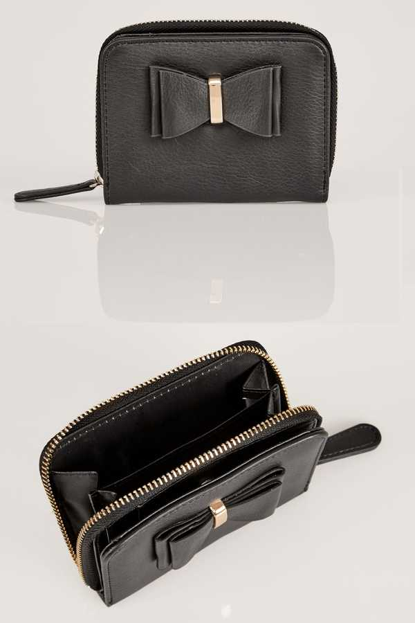 Yours Clothing Black Purse With Bow Front Detail