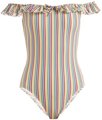 Solid & Striped The Amelia Off-the-shoulder Striped Swimsuit - Womens - Multi Stripe