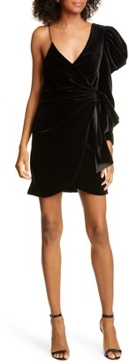Alice + Olivia Mila One-Shoulder Velvet Minidress