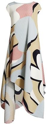 Issey Miyake Petal Pleats Asymmetric Maxi Dress