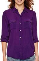JCPenney A.N.A a.n.a 3/4-Sleeve Flap-Pocket Shirt