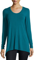 Joan Vass Scoop-Neck A-Line Tunic, Aegean Teal