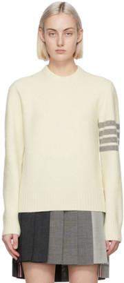 Thom Browne White Cashmere 4-Bar Sweater