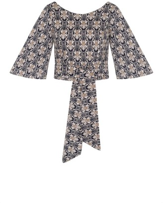 Cocoove Edith Baroque Printed Top With Tie Waist