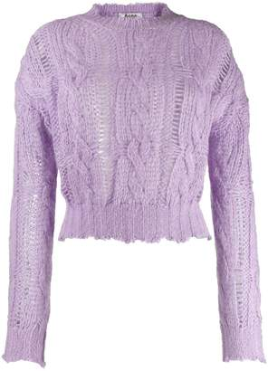 Acne Studios frayed cable knit sweater