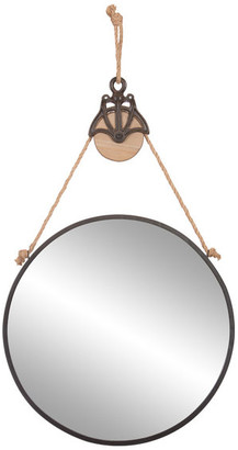 "Pinnacle Patton Decor 24"" Round Metal Mirror With Hanging Rope/Antique Pully"