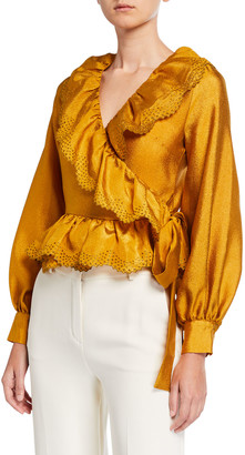 Stine Goya Carly Embroidered Long-Sleeve Wrap Blouse