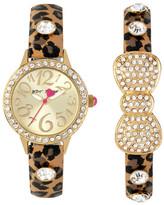 Betsey Johnson Women&s Cheetah Bow Crystal Fashion Watch