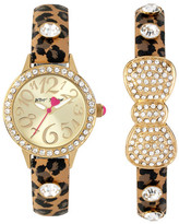 Betsey Johnson Women's Cheetah Bow Crystal Fashion Watch