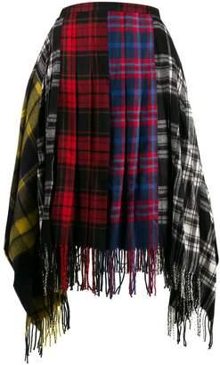 Juun.J plaid patterned fringed skirt