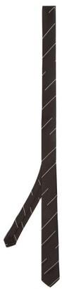 Saint Laurent Broken-stripe Silk-twill Tie - Black