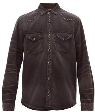 Amiri Studded Faded Cotton-denim Shirt - Mens - Black