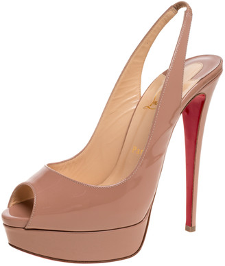 Christian Louboutin Beige Patent Leather Lady Peep Slingback Platform Sandals Size 40