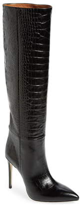Paris Texas Croc Embossed Pointed Toe Boot