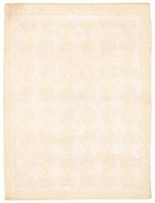 Dakota Fields Geometric Hand Braided Wool Khaki/White Area Rug