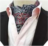 MENDENG Men's Black White Paisley Jacquard Woven Cravat Self Tie Silk Ascot