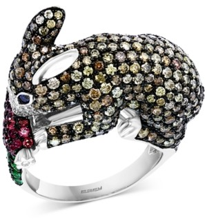 Effy Multi-Gemstone (5/8 ct. t.w.) & Diamond (3-5/8 ct. t.w.) Bunny Ring in 14k White Gold