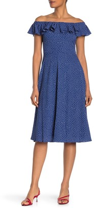 Betsey Johnson Off-the-Shoulder Dot Dress