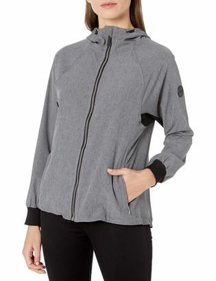 Calvin Klein Women's High Low Hem Hood Zip Up Raglan Jacket