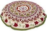 Rajrang Cultural Round White Ottoman Cotton Floral Embroidery Pouf Covers By Rajrang