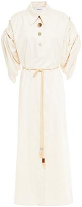 Nanushka Hanna Wrap-effect Cotton-blend Poplin Midi Dress