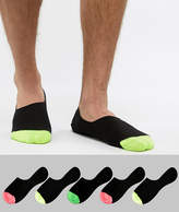 Asos DESIGN Invisible Liner Socks In Black With Neon Toes 5 Pack
