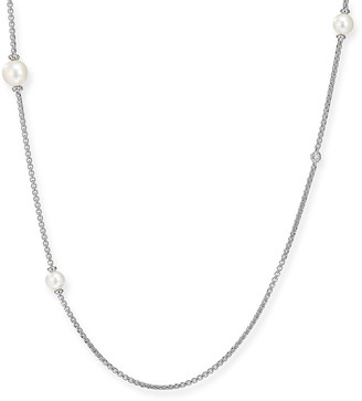 "David Yurman Long Pearl & Diamond Chain Necklace, 42""L"