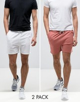 Asos Jersey Shorts 2 Pack White/ Pink Save