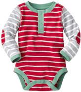 Hanna Andersson Apple Red & Heather Gray Stripe Happy Organic Cotton Bodysuit