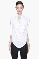 Helmut Lang HELMUT Heather white cowl-neck jersey shirt
