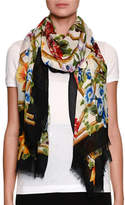 Dolce & Gabbana Bamboo Climbing-Flowers Print Modal-Cashmere Scarf