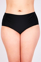 Yours Clothing Black Ruched Side Waist Bikini Brief