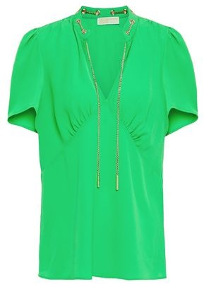 MICHAEL Michael Kors Chain-embellished Hammered-crepe Blouse