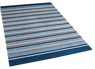Camilla And Marc The Rug Shop UK Pacific 176 X Teal Striped Rug Shop UK 55 x 85 cm, Polyester, Viscose/Rayon, Multi-Colour, 85 x 55 x 85 cm