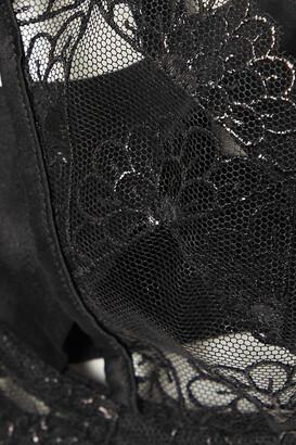 Coco de Mer Evita Cutout Scalloped Lace And Stretch-satin Underwired Balconette Bra - Black
