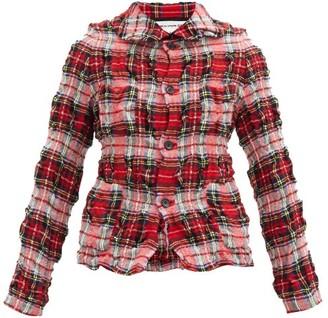 COMME DES GARÇONS GIRL Crinkled Wool-blend Tartan Jacket - Red