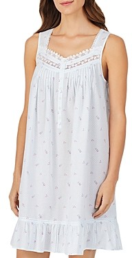 Eileen West Cotton Floral Lattice-Lace Chemise
