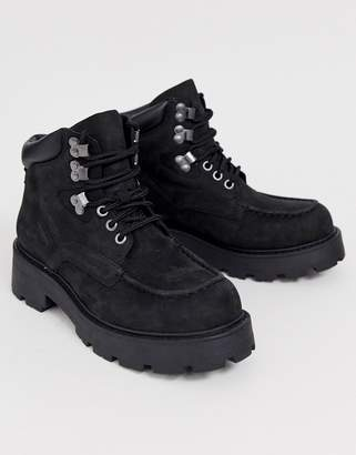 Vagabond Cosmo black leather lace up flat hiker boots