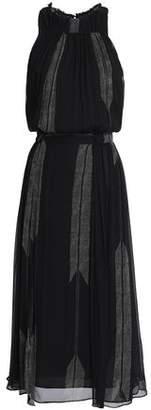 Halston Gathered Printed Silk-georgette Midi Dress